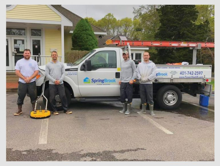 SpringBrook Power Washing Team Standing in Front their Truck After Washing the Ocean Community Chamber of Commerce Building